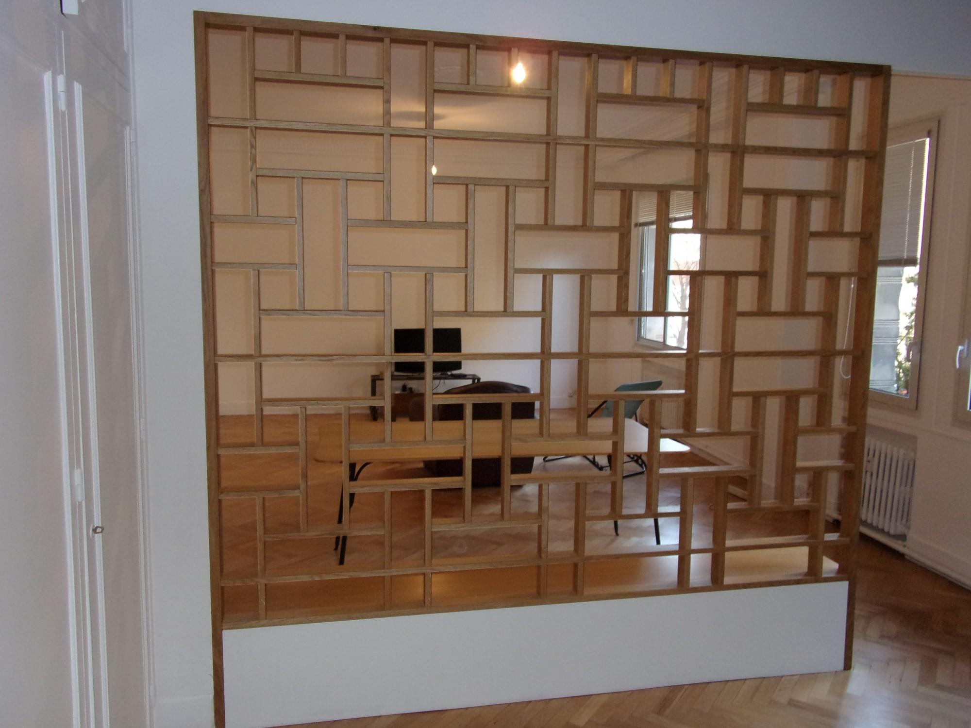 Claustra Intérieur En Bois fabrication d'une cloison bibliothèque façon claustra, en