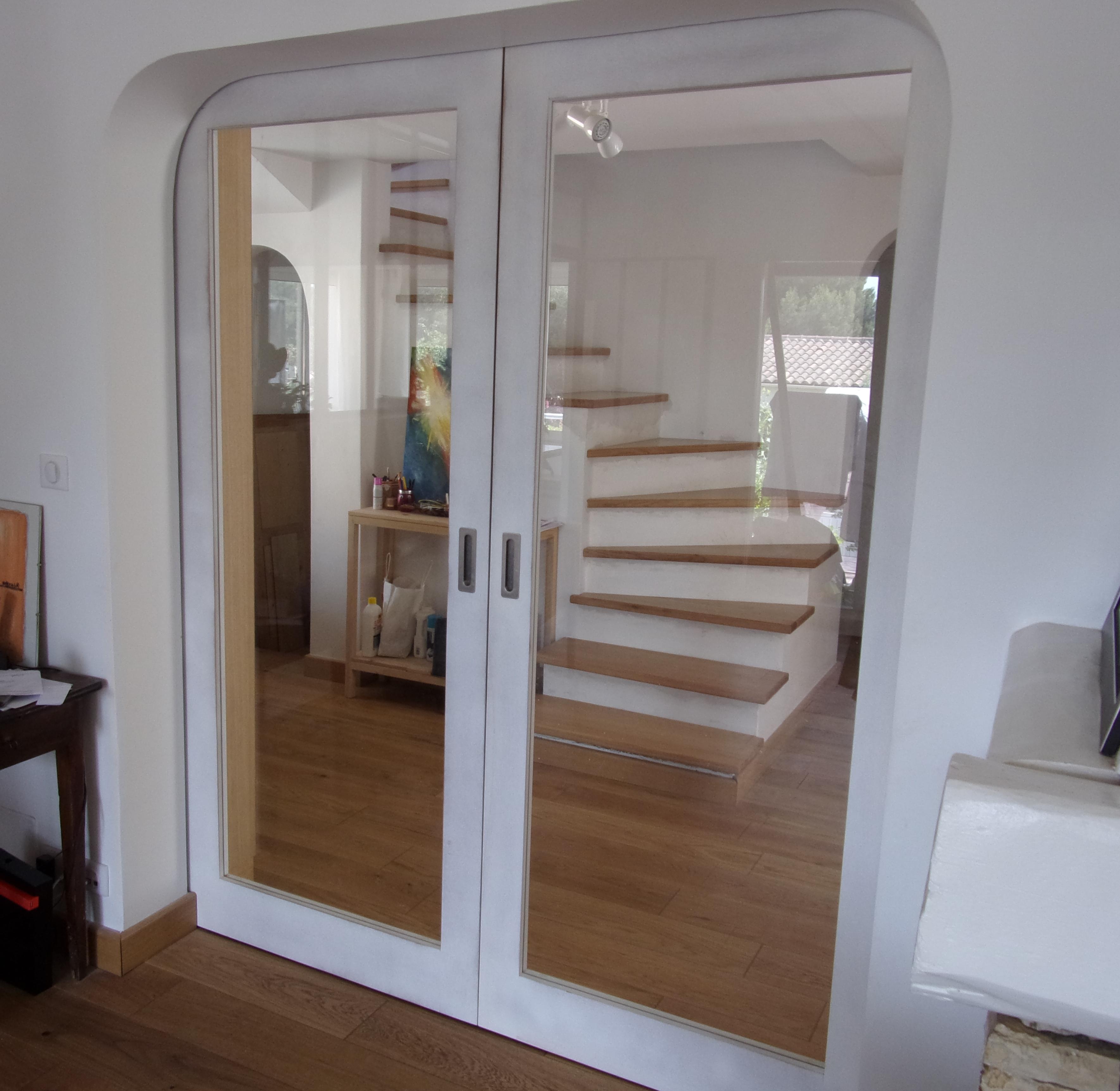Plan Porte À Galandage portes coulissantes vitrées avec galandage bibliothèque